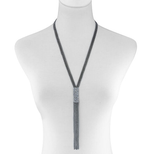White Austrian Crystal Y Necklace (Size 24 with 2 inch Extender) in Black Tone