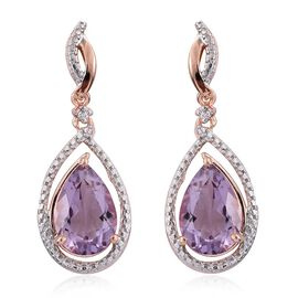 Rose De France Amethyst (Pear), Natural Cambodian Zircon Earrings (with Push Back) in Rose Gold Overlay Sterling Silver 5.250 Ct.