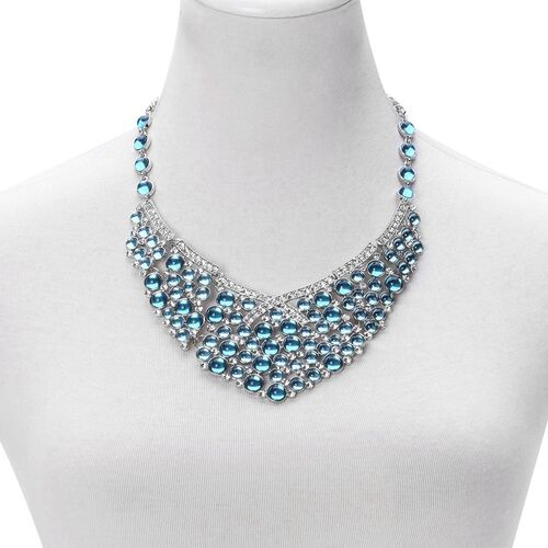 Simulated Blue Stone and White Austrian Crystal Necklace (Size 20 with 2 inch Extender) in Silver Tone