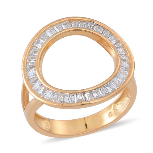 ELANZA AAA Simulated Diamond (Bgt) Ring in 14K Gold Overlay Sterling Silver