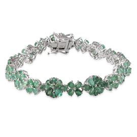 Kagem Zambian Emerald (Pear) Bracelet in Platinum Overlay Sterling Silver (Size 7.5) 13.750 Ct.
