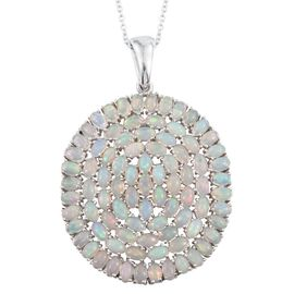 Ethiopian Welo Opal (Ovl) Cluster Pendant With Chain in Platinum Overlay Sterling Silver 12.750 Ct.