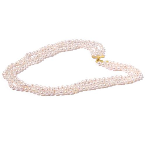 ILIANA 18K Yellow Gold Japanese Akoya Pearl 3 Strand Necklace (Size 19)