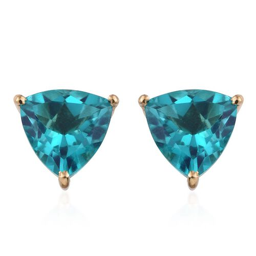 Capri Blue Quartz (Trl) Stud Earrings (with Push Back) in 14K Gold Overlay Sterling Silver 8.000 Ct.