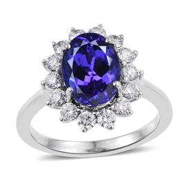 RHAPSODY 950 Platinum AAAA Tanzanite (Ovl 3.75 Ct), Diamond Ring 4.500 Ct.