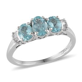 AA Paraibe Apatite (Ovl 0.50 Ct), Diamond Ring in Platinum Overlay Sterling Silver 1.000 Ct.