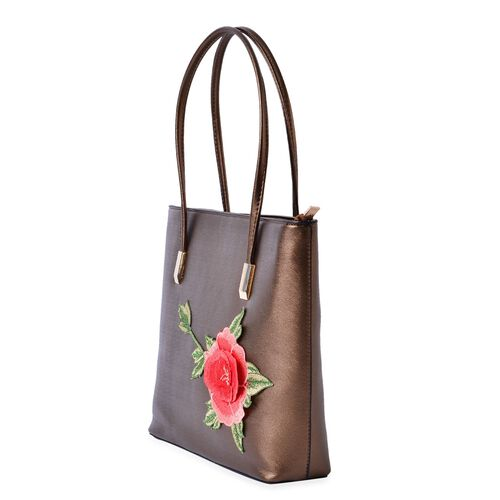 Metalic Bronze Colour with Embroidered 3D Floral Pattern Tote Bag (Size 36x28x8 Cm)
