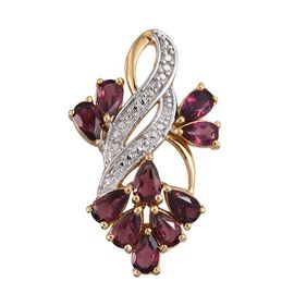 AB Rhodolite Garnet (Pear) Pendant in ION Plated 18K Yellow Gold Bond 2.250 Ct.