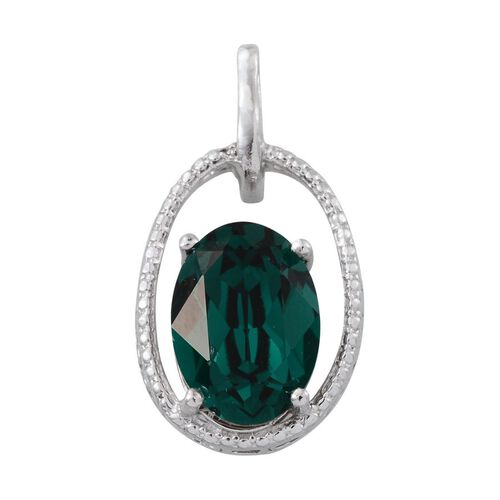 Crystal from Swarovski - Emerald Colour Crystal (Ovl) Solitaire Pendant in Platinum Overlay Sterling Silver