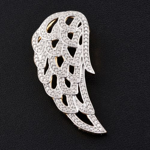 Diamond (Rnd) Feather Pendant in 14K Gold Overlay Sterling Silver