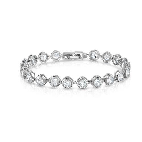 Designer Inspired AAA Simulated Diamond (Rnd) Bracelet (Size 7) in Silver Bond