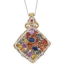 Madagascar Blue Sapphire (Ovl), Green, Orange, Pink, Yellow and Sunset Sapphire, Blue Sandstone Pendant With Chain in Rhodium Plated Sterling Silver 5.620 Ct.