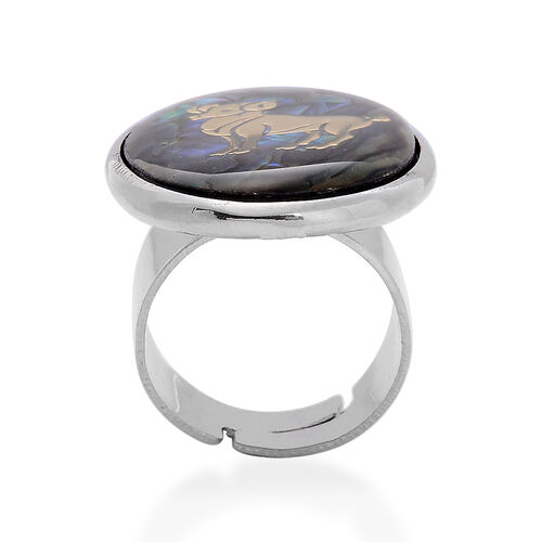 Abalone Shell Zodiac Aries Adjustable Ring in Silver Tone 19.000 Ct.