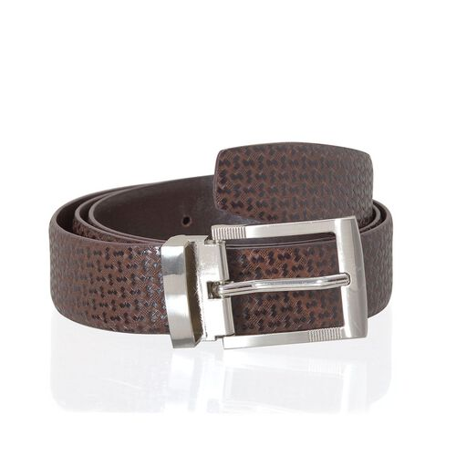 Genuine Leather Reversible Brown Colour Mens Belt with Silver Tone Buckle (Size 40.5-42.5 inch)
