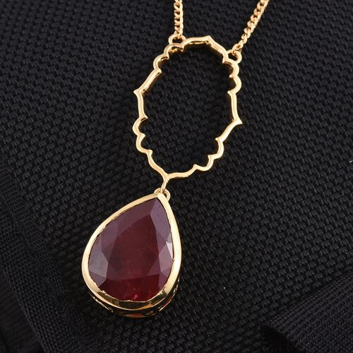 Kimberley Crimson Spice Collection Enhanced Ruby (Pear) Necklace (Size 18) in 14K Gold Overlay Sterling Silver 13.250 Ct.