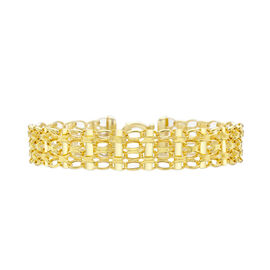 Close Out Deal Italian 9K Y Gold Oval Belcher and Bar Bracelet (Size 7.25), Gold Wt 6.30 Gms.