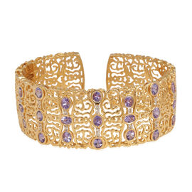 Tanzanite (Ovl), White Topaz Cuff Bangle (Size 7.5) in 14K Gold Overlay Sterling Silver 8.000 Ct. (Silver Wt. 36 Gms)