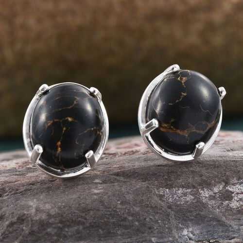 One Time Deal- Rare Black Mohave Turquoise (Ovl) Stud Earrings (with Push Back) in Sterling Silver 8.500 Ct.