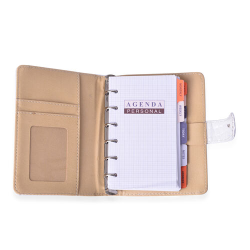 White Colour Note Book (Size 14.5x10.5x2 Cm), White Pen with Blue Refill and Lock Key Chain in Silver Tone