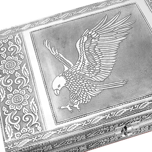 Limited Edition - Handcrafted Eagle Embossed 80 Slots Ring Box with Red Velvet and Mirror Inside (Size 28X19X5 Cm)