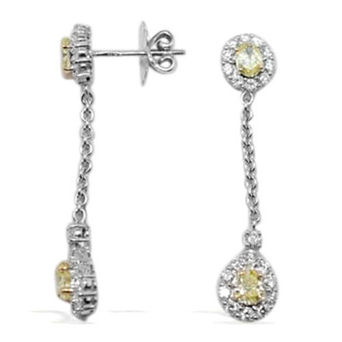 ILIANA 18K W Gold Natural Yellow Diamond (Pear 0.79 Ct) and Diamond Drop Earrings 2.400 Ct.