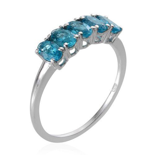 Malgache Neon Apatite (Ovl) 5 Stone Ring in Platinum Overlay Sterling Silver 1.000 Ct.