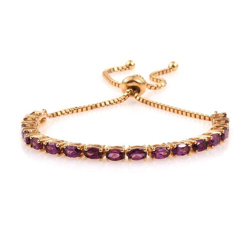 Rare Mozambique Grape Colour Garnet (Ovl) Adjustable Bracelet (Size 6 to 8 Inch) in 14K Gold Overlay Sterling Silver 4.750 Ct.