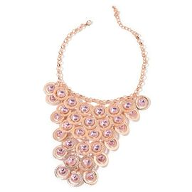 Designer Inspired Simulated Pink Diamond Waterfall Necklace (Size 20 with 2 Inch Extender) in Rose Gold Tone