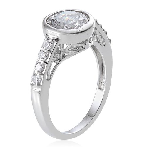 J Francis - Platinum Overlay Sterling Silver (Rnd) Ring Made With SWAROVSKI ZIRCONIA 2.280 Ct.