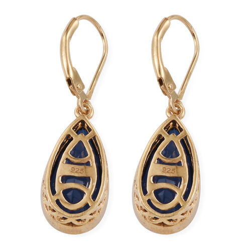 Ceylon Colour Quartz (Pear) Lever Back Earrings in 14K Gold Overlay Sterling Silver 10.000 Ct.