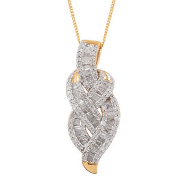 Diamond (Bgt) Pendant With Chain in 14K Gold Overlay Sterling Silver 1.000 Ct.