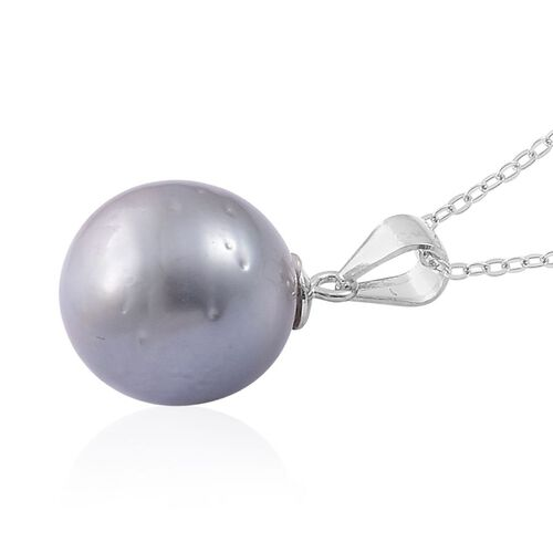 Tahitian Pearl Pendant With Chain in Rhodium Plated Sterling Silver