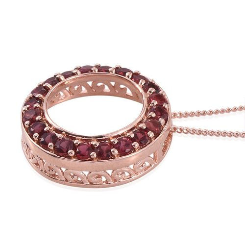 Mahenge Spinel (Rnd) Circle Pendant With Chain in Rose Gold Overlay Sterling Silver 0.850 Ct.