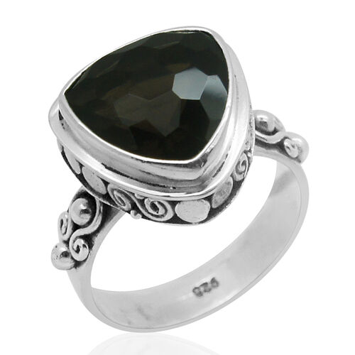 Royal Bali Collection Brazilian Smoky Quartz (Trl) Solitaire Ring in Sterling Silver 5.210 Ct.