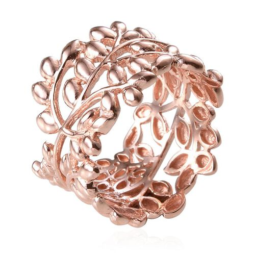 Designer Inspired Rose Gold Overlay Sterling Silver Olive Leaves Ring, Silver wt 5.25 Gms.