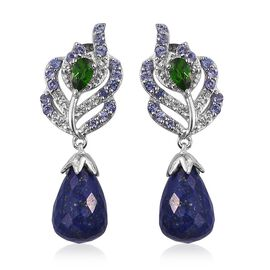 (Option 2) Stefy Lapis Lazuli, Russian Diopside, Tanzanite, Pink Sapphire and White Topaz Earrings (with Push Back) in Platinum Overlay Sterling Silver 8.550 Ct.