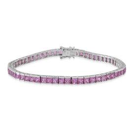 9K W Gold AA Rare Pink Sapphire (Princess) Tennis Bracelet (Size 7.5) 11.500 Ct. Gold Wt 8.85 Gms.