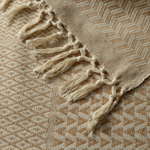 100% Cotton Beige and Natural Colour Handloom Bedcover with Fringes at the Bottom (Size 270x220 Cm)