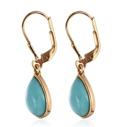 Sonoran Turquoise (Pear) Lever Back Earrings in 14K Gold Overlay Sterling Silver 5.000 Ct.