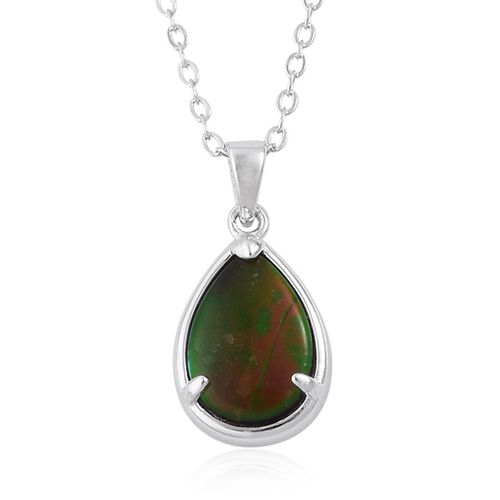 Canadian Ammolite (Pear) Solitaire Pendant With Chain in Platinum and Rhodium Plated Sterling Silver 1.500 Ct.