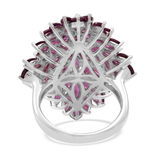 AAA Orissa Rhodolite Garnet (Mrq) Cluster Ring in Rhodium Plated Sterling Silver 9.500 Ct.