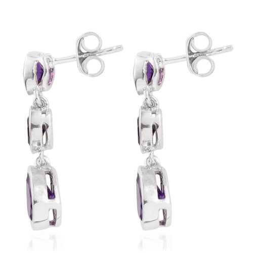 Amethyst (Pear) Earrings (with Push Back) in Platinum Overlay Sterling Silver 3.000 Ct.