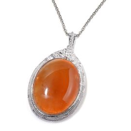 Red Agate Pendant in Silver Tone with Stainless Steel Chain 80.000 Ct.