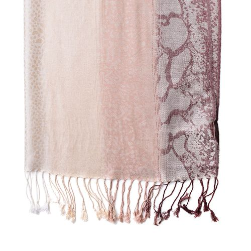 Cream and Chocolate Colour Leopard Pattern Scarf with Tassels (Size 180X65 Cm)