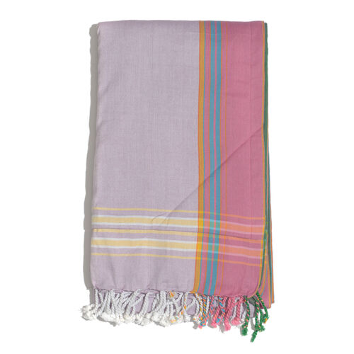 100% Cotton (Front) and 100% Polyester (Back) Lavender with Pink Border Kikoy Beach Towel (Size 160x90 Cm) with a Concealed Pocket