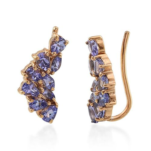 Tanzanite (Pear) Climber Earrings in 14K Gold Overlay Sterling Silver 2.400 Ct.