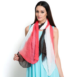100% Modal Pink, White and Multi Colour Ombre Scarf (Size 170x100 Cm)