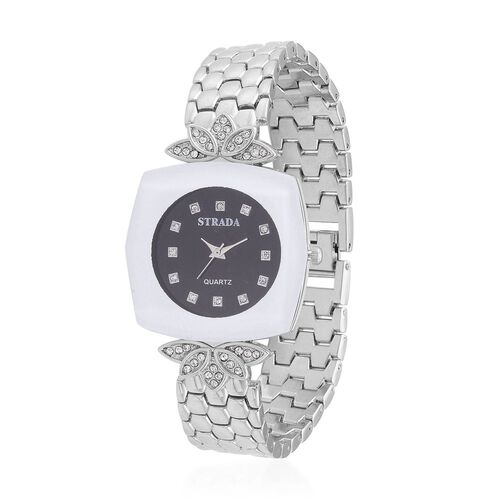 STRADA Japenese Movement White Austrian Crystal Studded Black Dial Water Resistant Watch in Silver Tone with Stainless Steel Back and Chain Strap