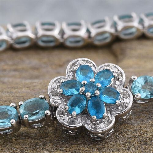 Paraibe Apatite (Ovl), Malgache Neon Apatite and White Topaz Floral Bracelet (Size 8) in Platinum Overlay Sterling Silver 13.250 Ct.