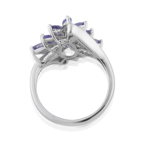 Tanzanite Platinum Overlay Sterling Silver Ring  1.53 Ct.